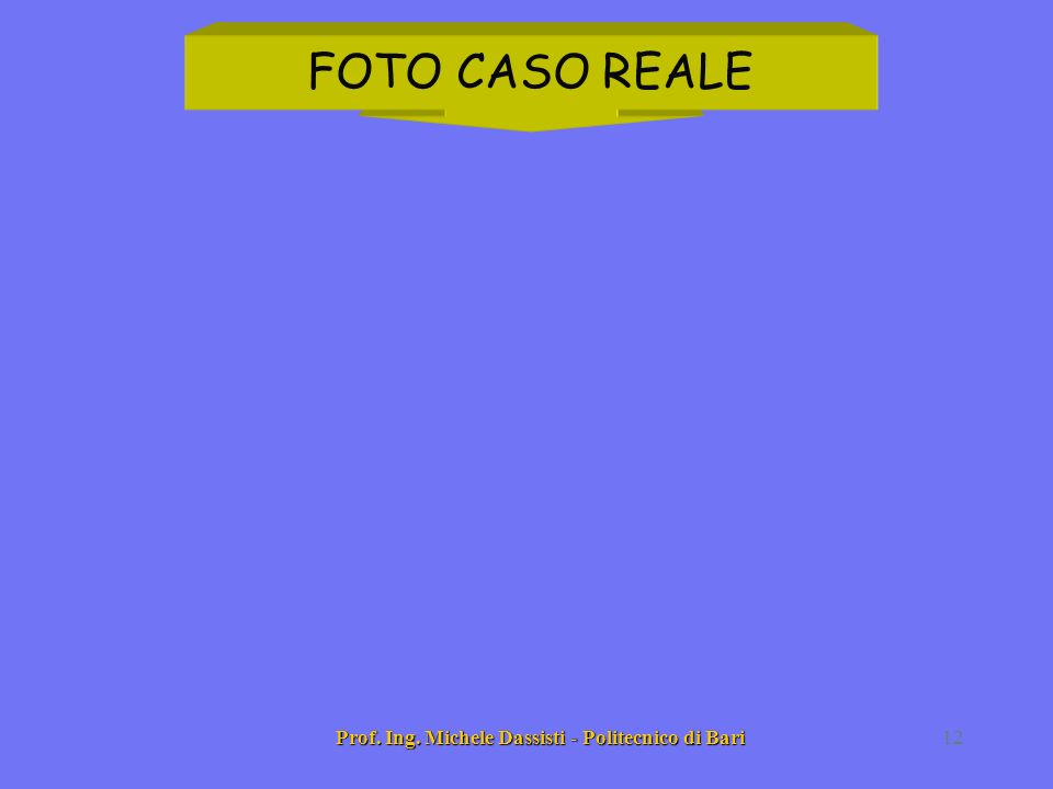 Prof. Ing. Michele Dassisti - Politecnico di Bari12 FOTO CASO REALE