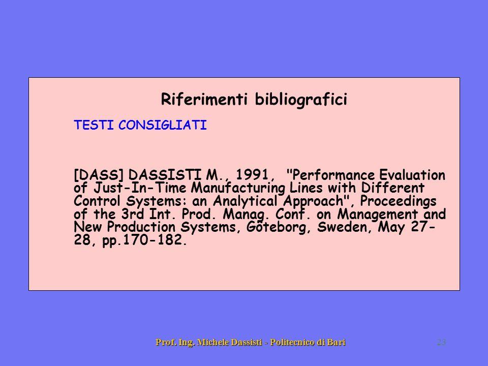 Prof. Ing. Michele Dassisti - Politecnico di Bari23 Riferimenti bibliografici TESTI CONSIGLIATI [DASS] DASSISTI M., 1991,