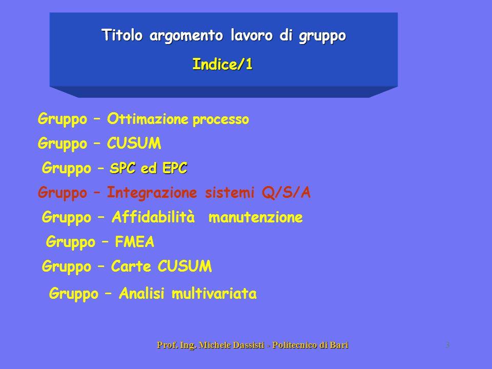 Prof. Ing. Michele Dassisti - Politecnico di Bari3 Titolo argomento lavoro di gruppo Indice/1 Gruppo – O ttimazione processo Gruppo – CUSUM SPC ed EPC