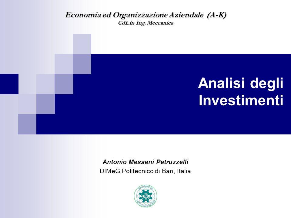 Antonio Messeni Petruzzelli DIMeG,Politecnico di Bari, Italia Economia ed Organizzazione Aziendale (A-K) CdL in Ing. Meccanica Analisi degli Investime