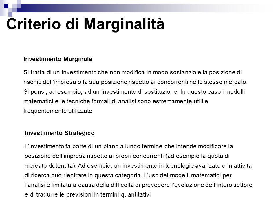 Criterio di Marginalità Investimento Marginale Si tratta di un investimento che non modifica in modo sostanziale la posizione di rischio dellimpresa o