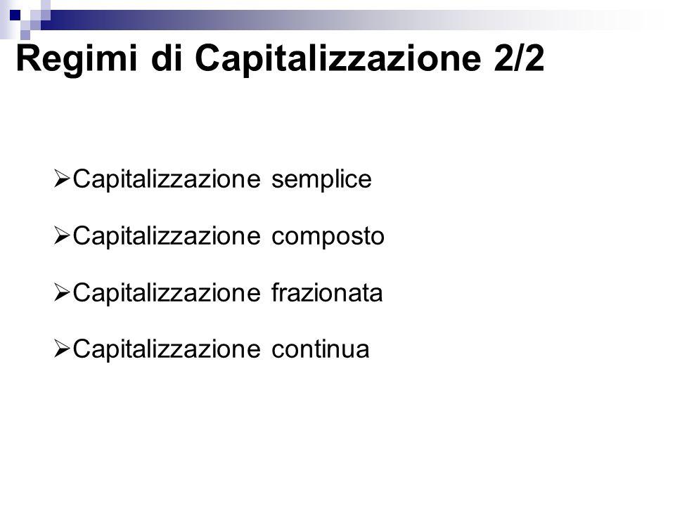 Regimi di Capitalizzazione 2/2 Capitalizzazione semplice Capitalizzazione composto Capitalizzazione frazionata Capitalizzazione continua