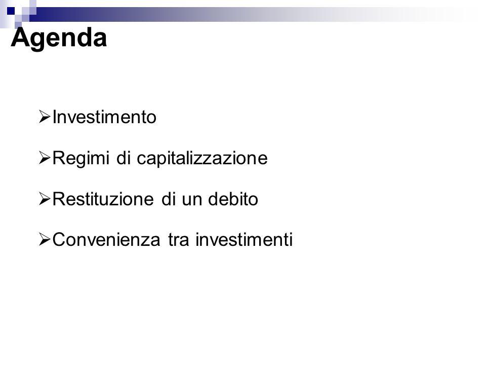 Saggio Minimo Conveniente (MARR) Rappresenta il tasso dinteresse che il soggetto dellanalisi dellinvestimento guadagna attraverso limpiego tipico del denaro, ovverosia il tasso che egli guadagnerebbe comunque anche se non effettuasse linvestimento da analizzare TIR > MARR linvestimento è conveniente