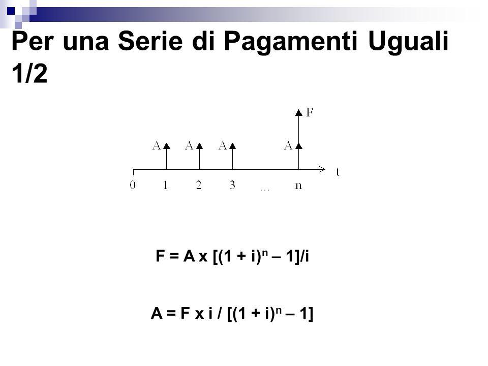Per una Serie di Pagamenti Uguali 1/2 F = A x [(1 + i) n – 1]/i A = F x i / [(1 + i) n – 1]