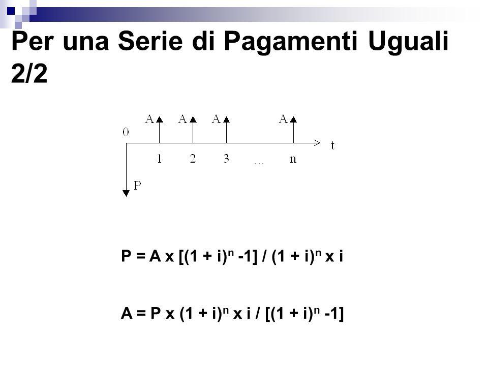 Per una Serie di Pagamenti Uguali 2/2 A = P x (1 + i) n x i / [(1 + i) n -1] P = A x [(1 + i) n -1] / (1 + i) n x i