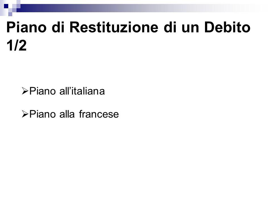 Piano di Restituzione di un Debito 1/2 Piano allitaliana Piano alla francese