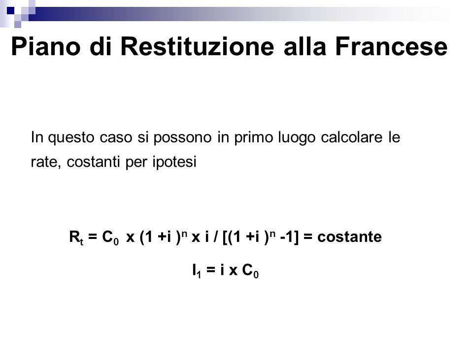 Piano di Restituzione alla Francese In questo caso si possono in primo luogo calcolare le rate, costanti per ipotesi R t = C 0 x (1 +i ) n x i / [(1 +