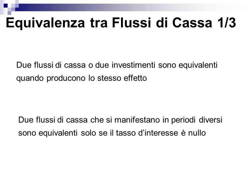 Equivalenza tra Flussi di Cassa 1/3 Due flussi di cassa o due investimenti sono equivalenti quando producono lo stesso effetto Due flussi di cassa che
