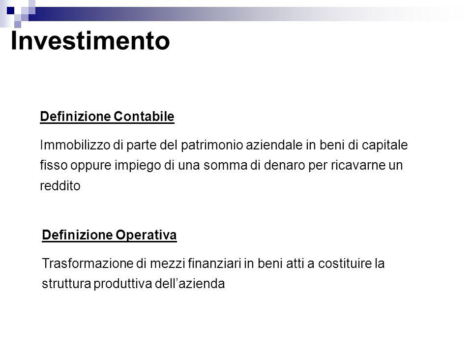 Investimento Definizione Contabile Immobilizzo di parte del patrimonio aziendale in beni di capitale fisso oppure impiego di una somma di denaro per r