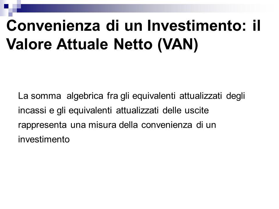 Convenienza di un Investimento: il Valore Attuale Netto (VAN) La somma algebrica fra gli equivalenti attualizzati degli incassi e gli equivalenti attu