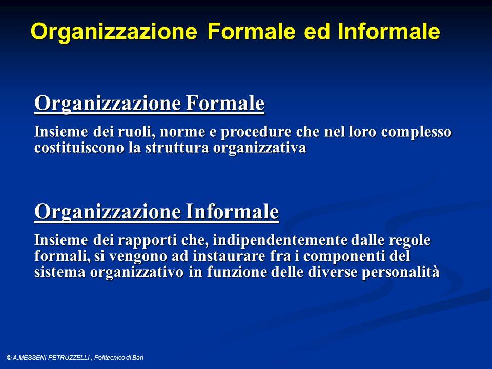 © A.MESSENI PETRUZZELLI, Politecnico di Bari Organizzazione Formale ed Informale