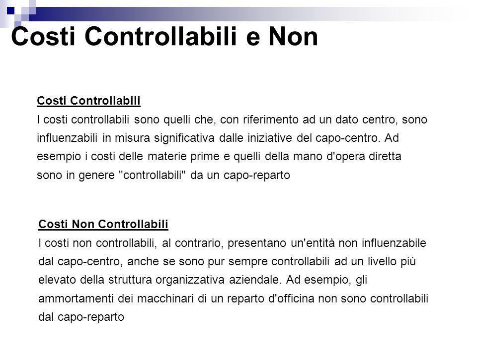 Costi Controllabili e Non Costi Controllabili I costi controllabili sono quelli che, con riferimento ad un dato centro, sono influenzabili in misura s