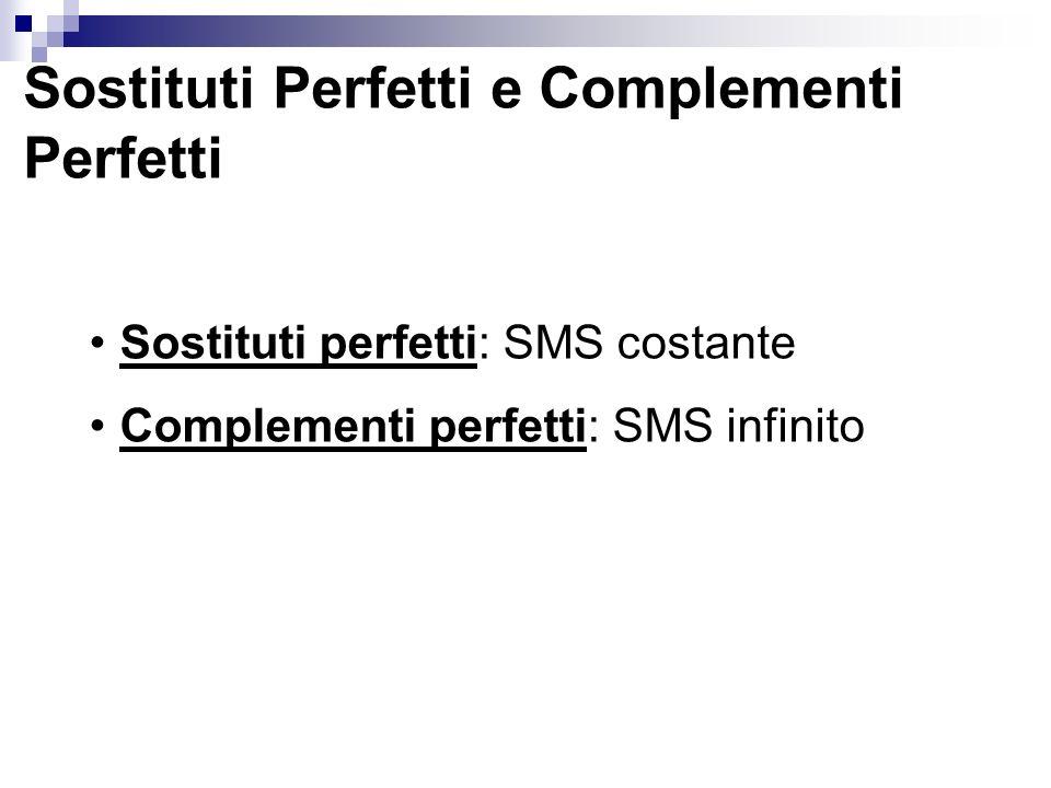 Sostituti Perfetti e Complementi Perfetti Sostituti perfetti: SMS costante Complementi perfetti: SMS infinito