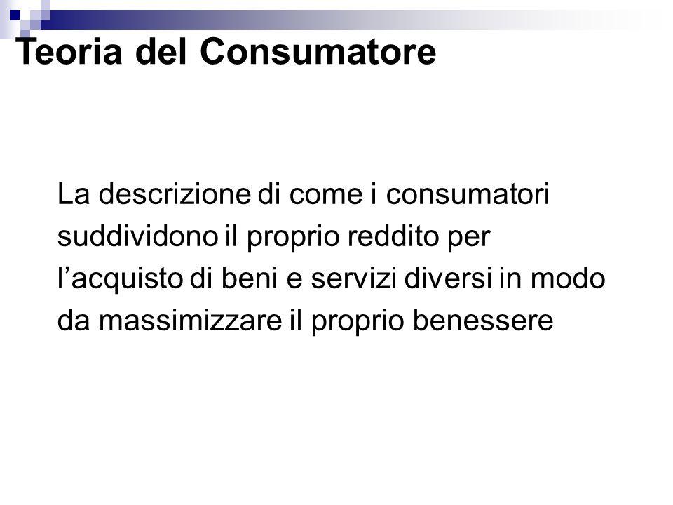 Teoria del Consumatore La descrizione di come i consumatori suddividono il proprio reddito per lacquisto di beni e servizi diversi in modo da massimiz