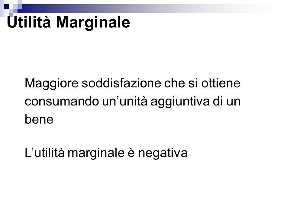 Utilità Marginale Maggiore soddisfazione che si ottiene consumando ununità aggiuntiva di un bene Lutilità marginale è negativa