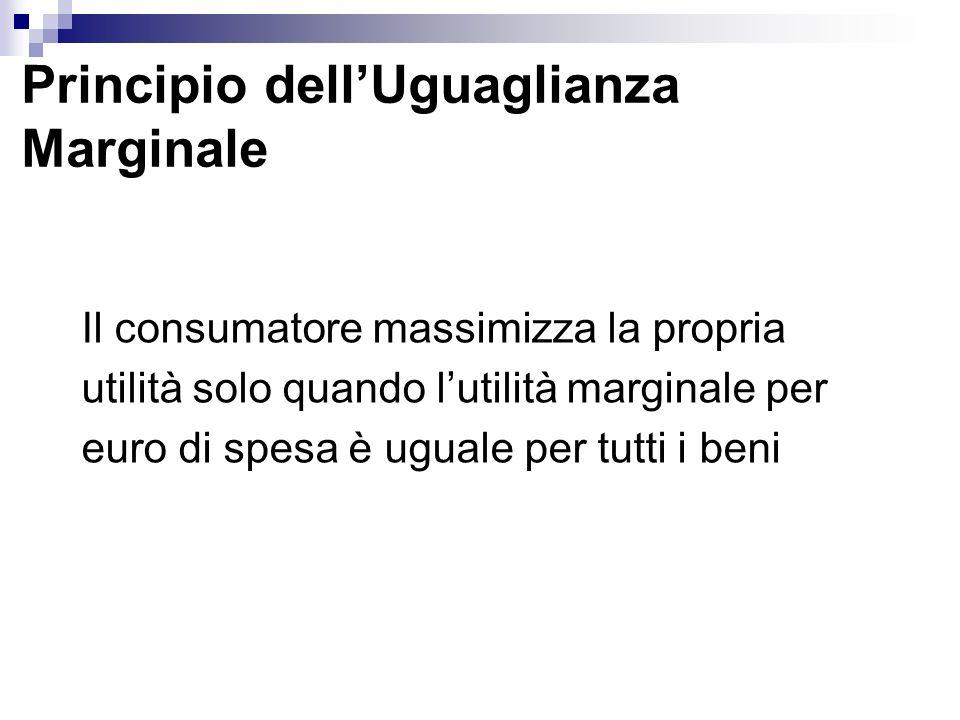 Principio dellUguaglianza Marginale Il consumatore massimizza la propria utilità solo quando lutilità marginale per euro di spesa è uguale per tutti i