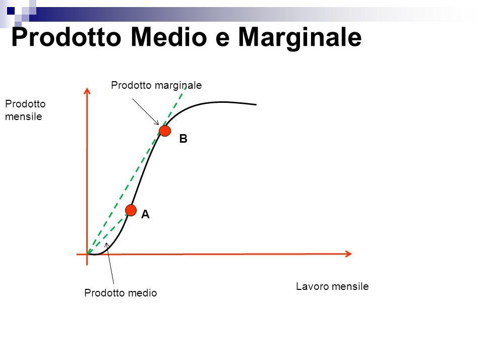 Prodotto Medio e Marginale Prodotto mensile Lavoro mensile Prodotto medio Prodotto marginale A B