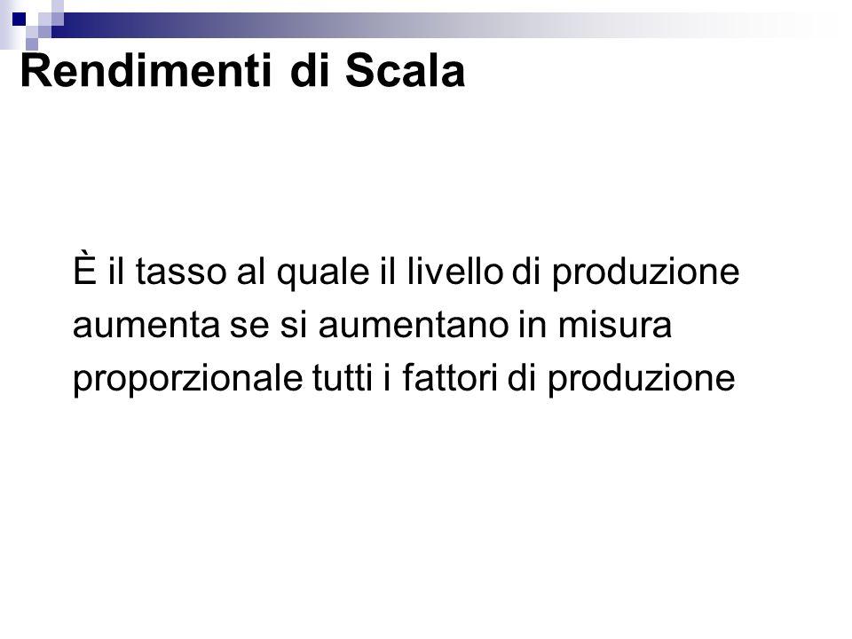Rendimenti di Scala È il tasso al quale il livello di produzione aumenta se si aumentano in misura proporzionale tutti i fattori di produzione