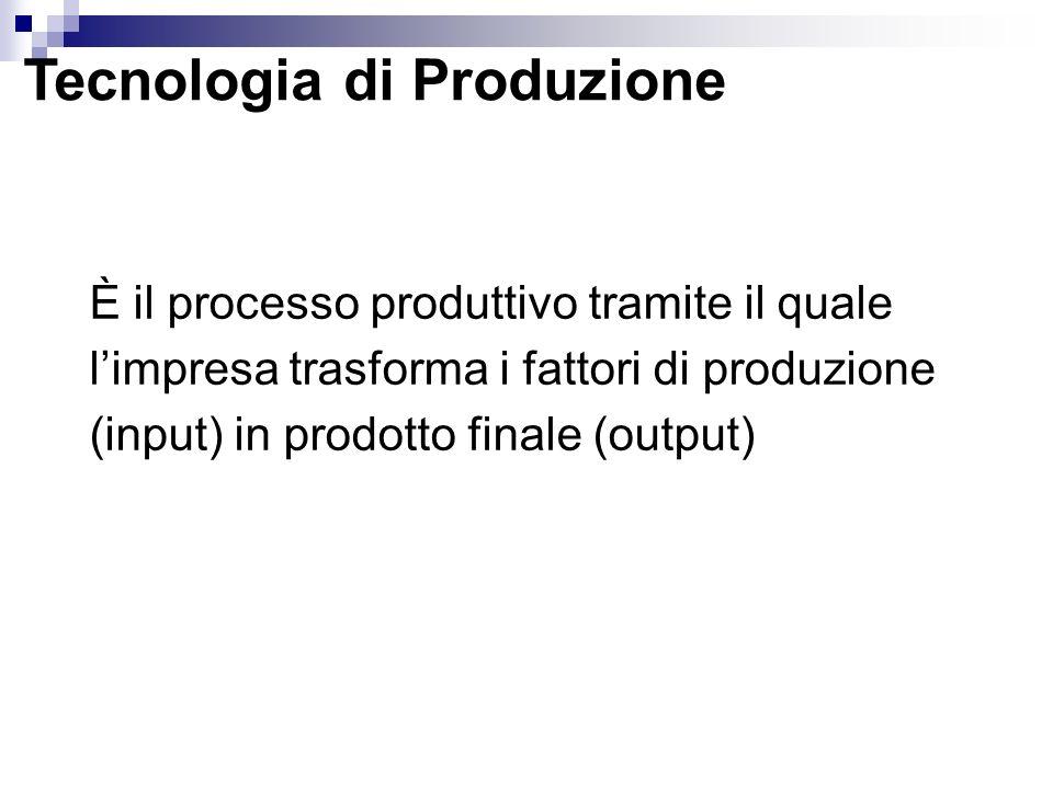 Tecnologia di Produzione È il processo produttivo tramite il quale limpresa trasforma i fattori di produzione (input) in prodotto finale (output)