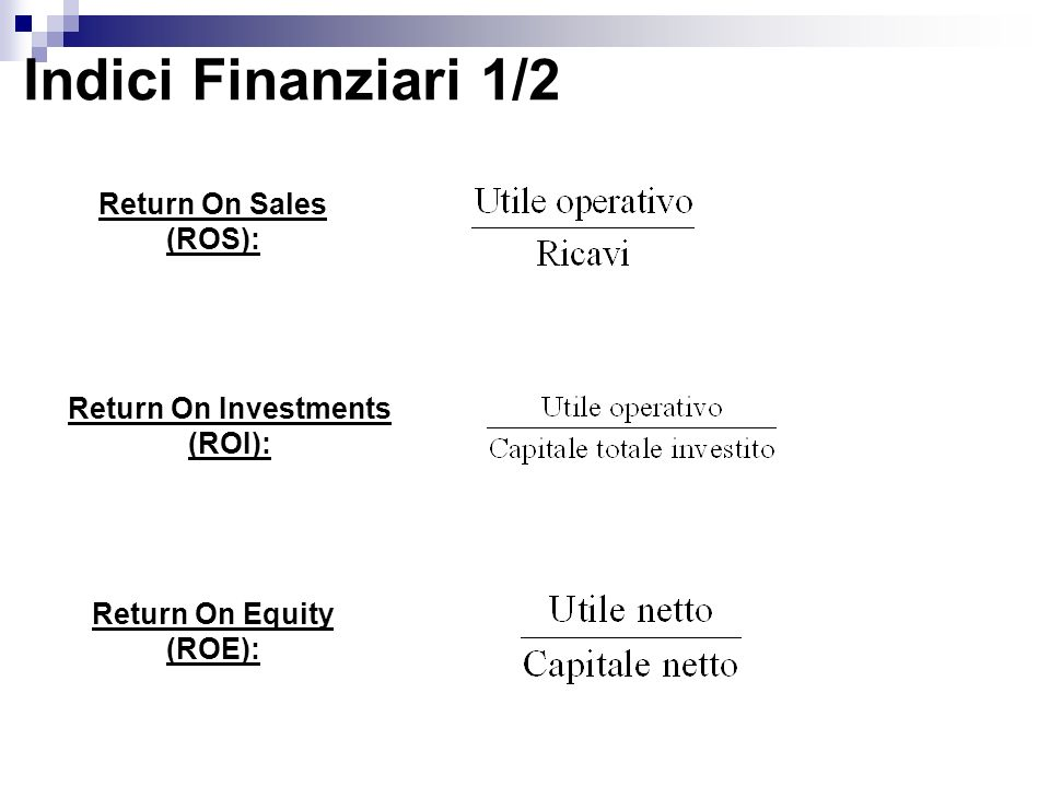 Indici Finanziari 1/2 Return On Sales (ROS): Return On Investments (ROI): Return On Equity (ROE):
