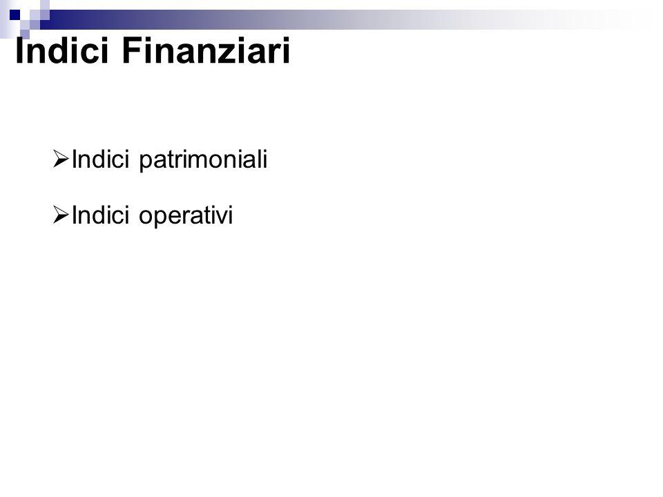 Indici Finanziari Indici patrimoniali Indici operativi