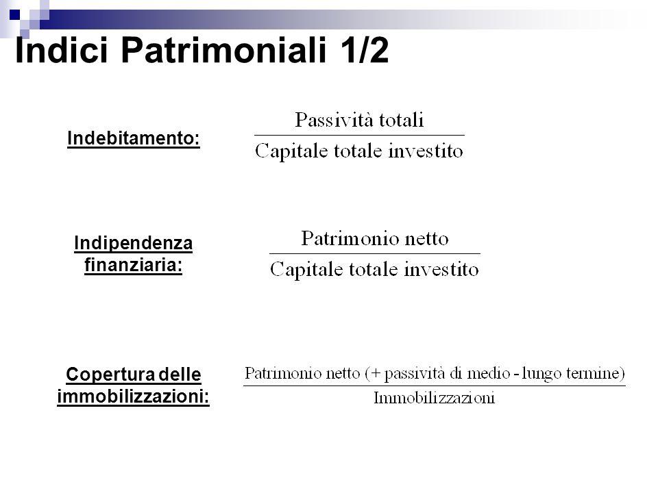 Indici Patrimoniali 1/2 Indebitamento: Indipendenza finanziaria: Copertura delle immobilizzazioni:
