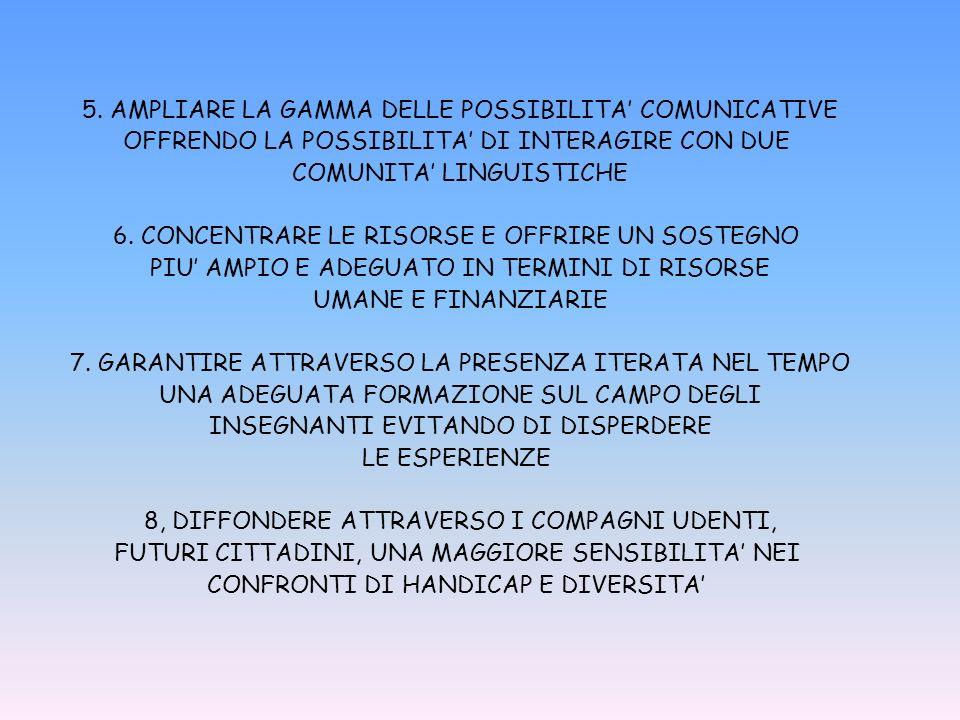 5. AMPLIARE LA GAMMA DELLE POSSIBILITA COMUNICATIVE OFFRENDO LA POSSIBILITA DI INTERAGIRE CON DUE COMUNITA LINGUISTICHE 6. CONCENTRARE LE RISORSE E OF