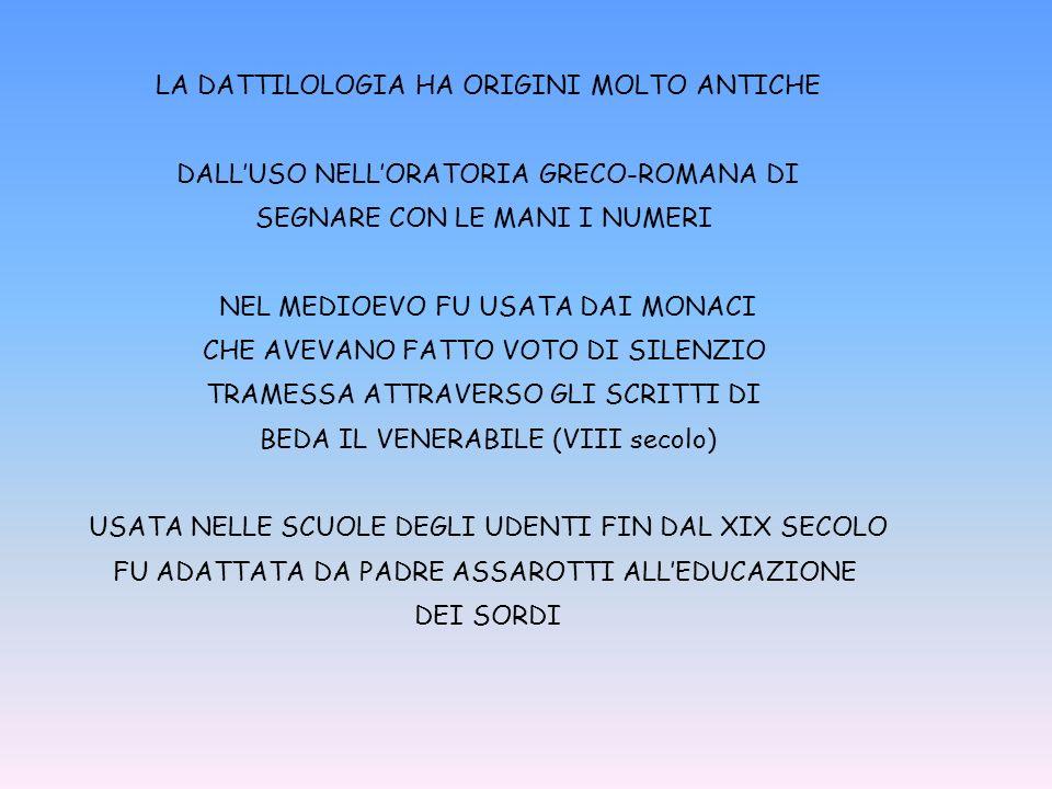 LA DATTILOLOGIA HA ORIGINI MOLTO ANTICHE DALLUSO NELLORATORIA GRECO-ROMANA DI SEGNARE CON LE MANI I NUMERI NEL MEDIOEVO FU USATA DAI MONACI CHE AVEVANO FATTO VOTO DI SILENZIO TRAMESSA ATTRAVERSO GLI SCRITTI DI BEDA IL VENERABILE (VIII secolo) USATA NELLE SCUOLE DEGLI UDENTI FIN DAL XIX SECOLO FU ADATTATA DA PADRE ASSAROTTI ALLEDUCAZIONE DEI SORDI