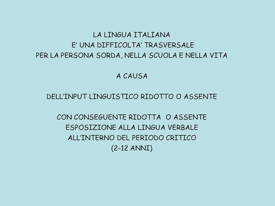 LA LINGUA ITALIANA E UNA DIFFICOLTA TRASVERSALE PER LA PERSONA SORDA, NELLA SCUOLA E NELLA VITA A CAUSA DELLINPUT LINGUISTICO RIDOTTO O ASSENTE CON CO