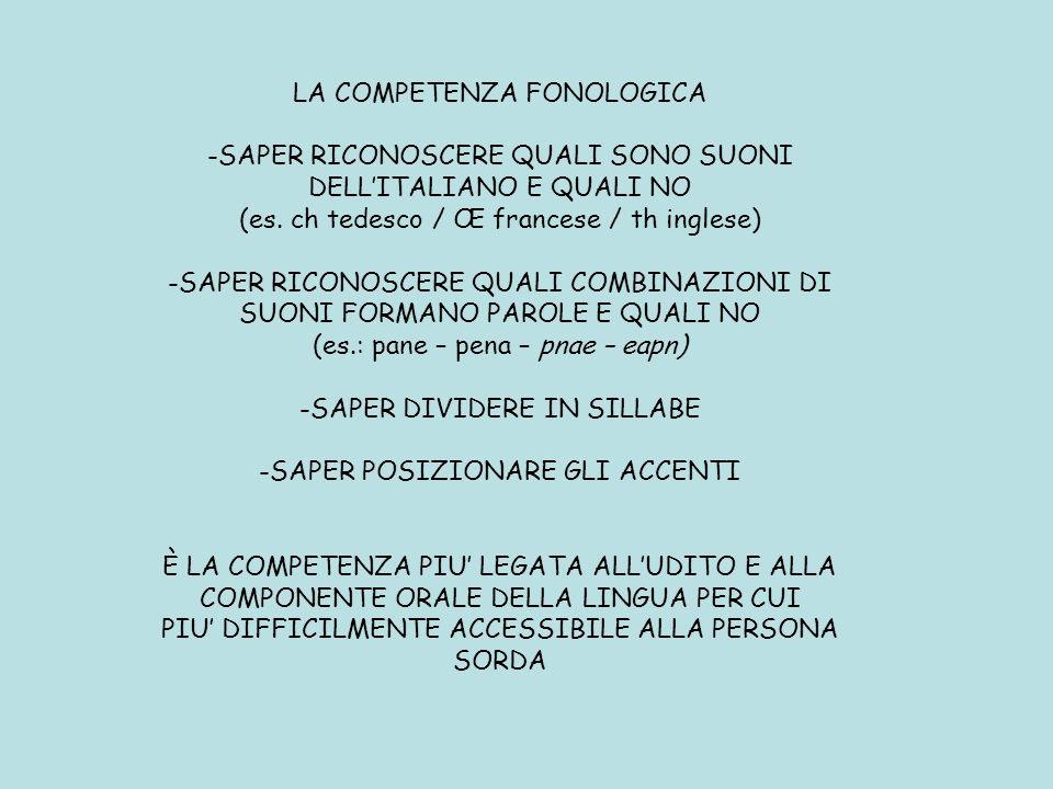 LA COMPETENZA FONOLOGICA -SAPER RICONOSCERE QUALI SONO SUONI DELLITALIANO E QUALI NO (es. ch tedesco / Πfrancese / th inglese) -SAPER RICONOSCERE QUA