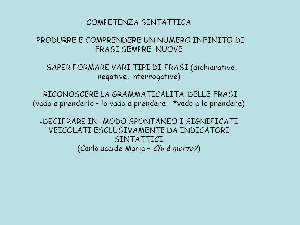 COMPETENZA SINTATTICA -PRODURRE E COMPRENDERE UN NUMERO INFINITO DI FRASI SEMPRE NUOVE - SAPER FORMARE VARI TIPI DI FRASI (dichiarative, negative, int