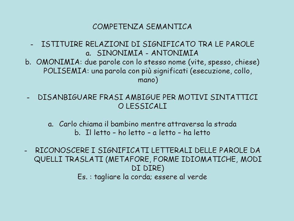 COMPETENZA SEMANTICA -ISTITUIRE RELAZIONI DI SIGNIFICATO TRA LE PAROLE a.SINONIMIA - ANTONIMIA b.OMONIMIA: due parole con lo stesso nome (vite, spesso