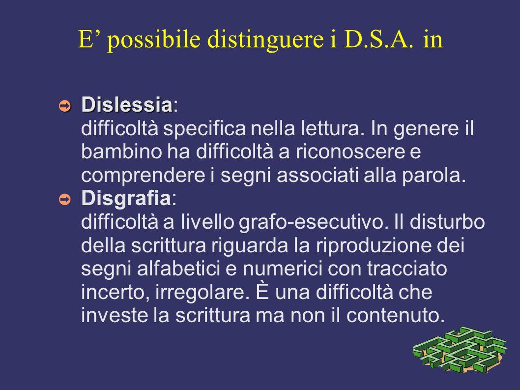 E possibile distinguere i D.S.A. in Dislessia Dislessia: difficoltà specifica nella lettura. In genere il bambino ha difficoltà a riconoscere e compre