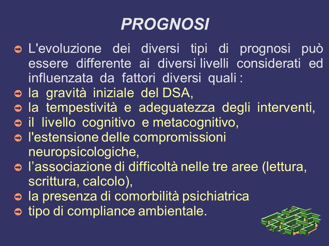 PROGNOSI L'evoluzione dei diversi tipi di prognosi può essere differente ai diversi livelli considerati ed influenzata da fattori diversi quali : la g