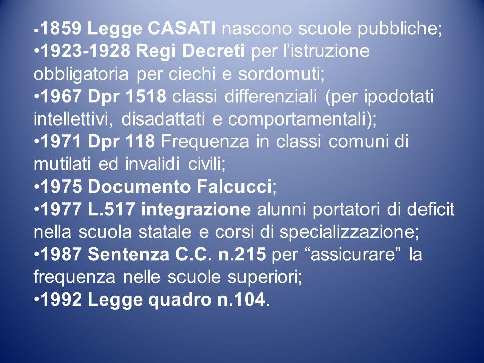 1859 Legge CASATI nascono scuole pubbliche; 1923-1928 Regi Decreti per listruzione obbligatoria per ciechi e sordomuti; 1967 Dpr 1518 classi differenz