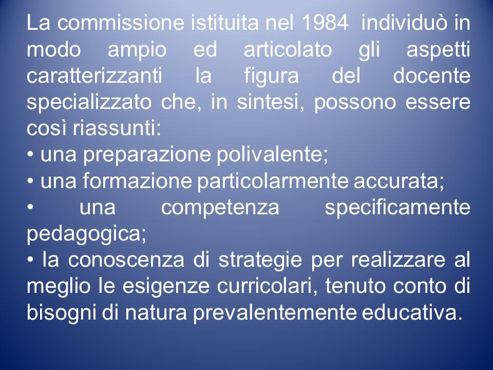 La commissione istituita nel 1984 individuò in modo ampio ed articolato gli aspetti caratterizzanti la figura del docente specializzato che, in sintes