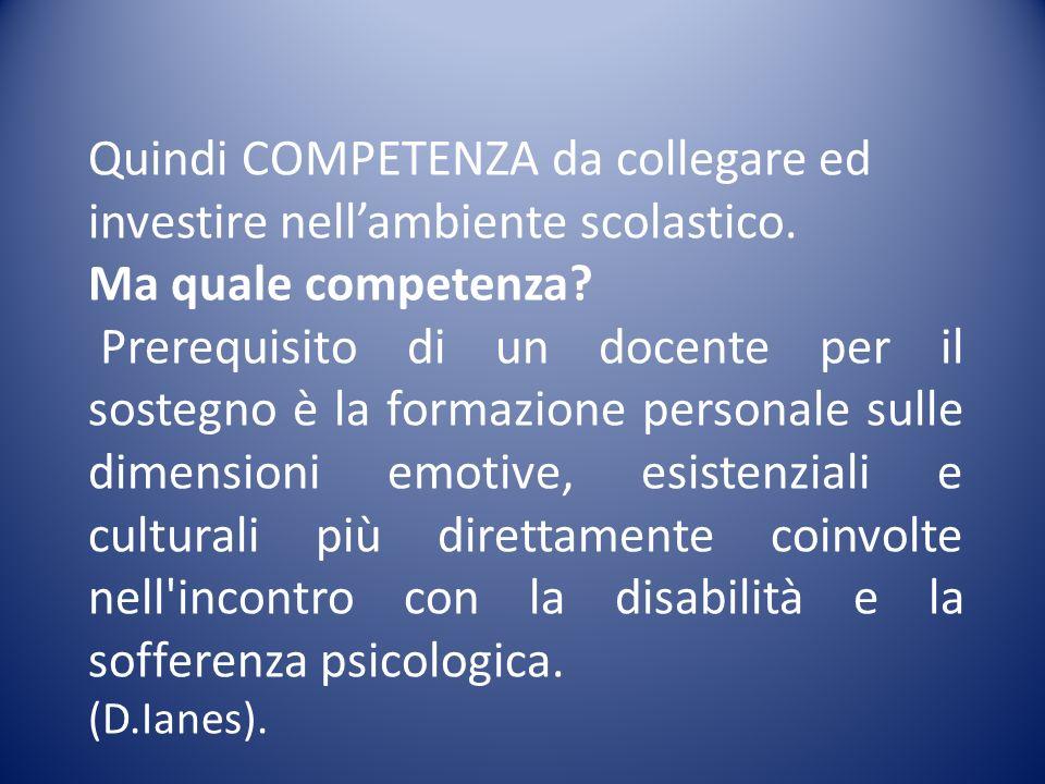 il profilo professionale globale di un insegnante specializzato per il sostegno ai processi di integrazione/inclusione nella scuola italiana di oggi si articola in sei grandi classi di competenze: 1.La collaborazione-mediazione professionale; 2.