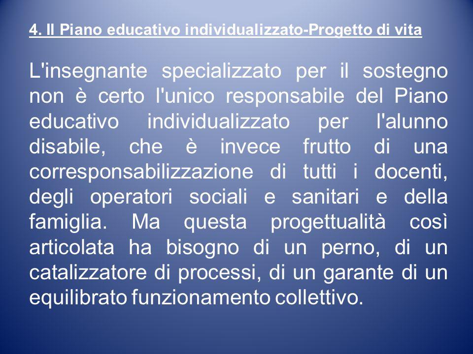 4. Il Piano educativo individualizzato-Progetto di vita L'insegnante specializzato per il sostegno non è certo l'unico responsabile del Piano educativ