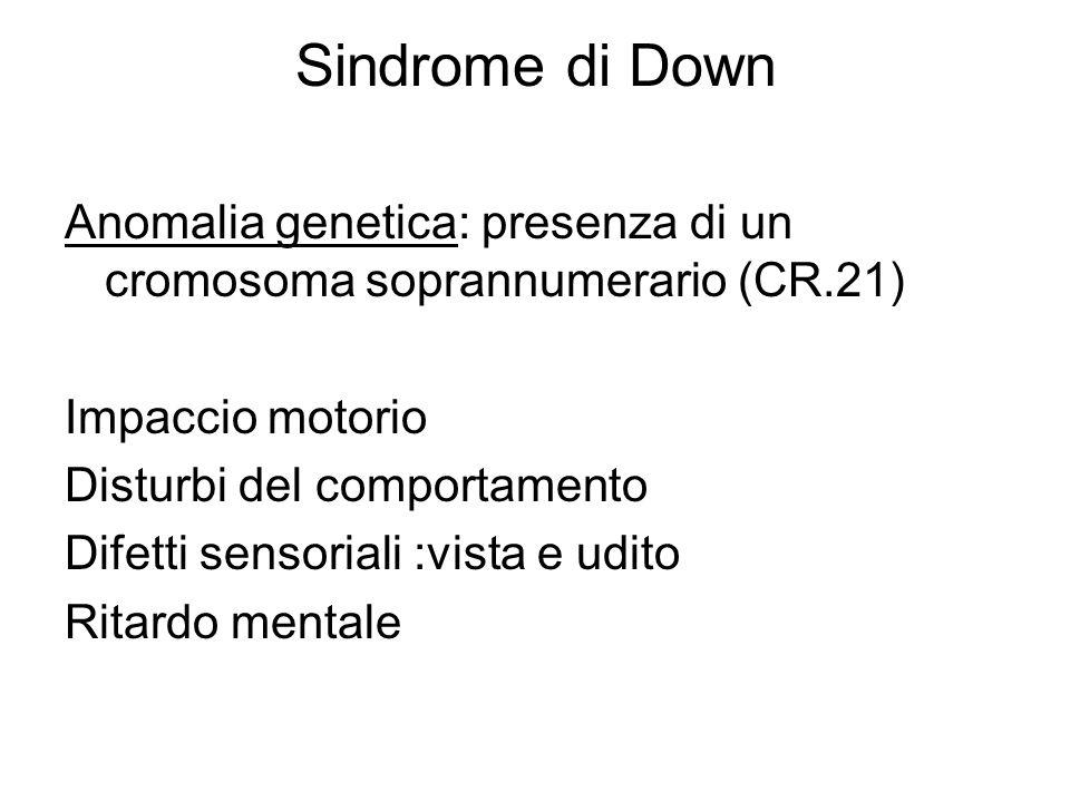 Sindrome di Down Anomalia genetica: presenza di un cromosoma soprannumerario (CR.21) Impaccio motorio Disturbi del comportamento Difetti sensoriali :v