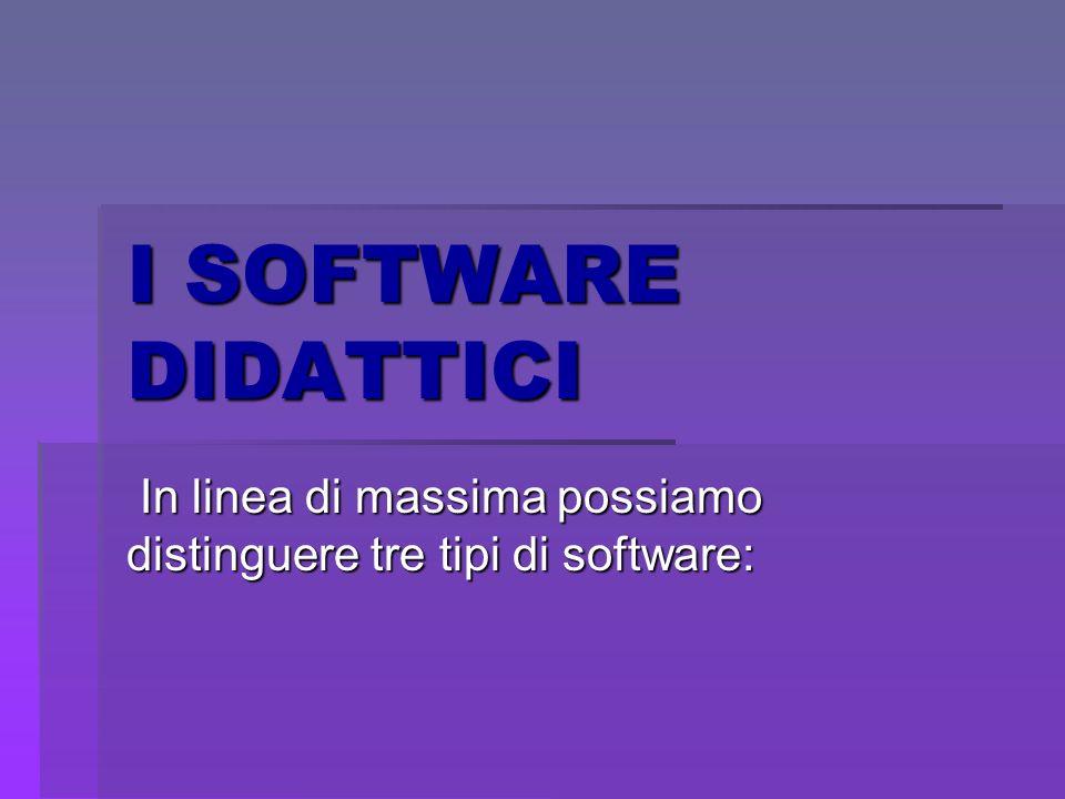 I SOFTWARE DIDATTICI In linea di massima possiamo distinguere tre tipi di software: In linea di massima possiamo distinguere tre tipi di software: