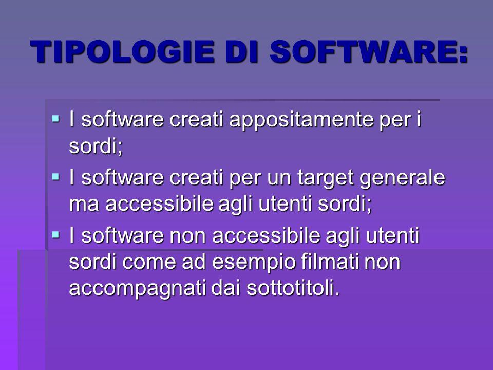 TIPOLOGIE DI SOFTWARE: I software creati appositamente per i sordi; I software creati appositamente per i sordi; I software creati per un target gener