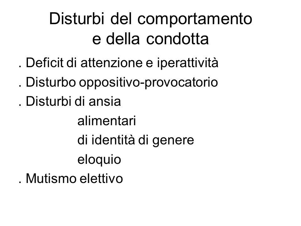Disturbi del comportamento e della condotta. Deficit di attenzione e iperattività. Disturbo oppositivo-provocatorio. Disturbi di ansia alimentari di i