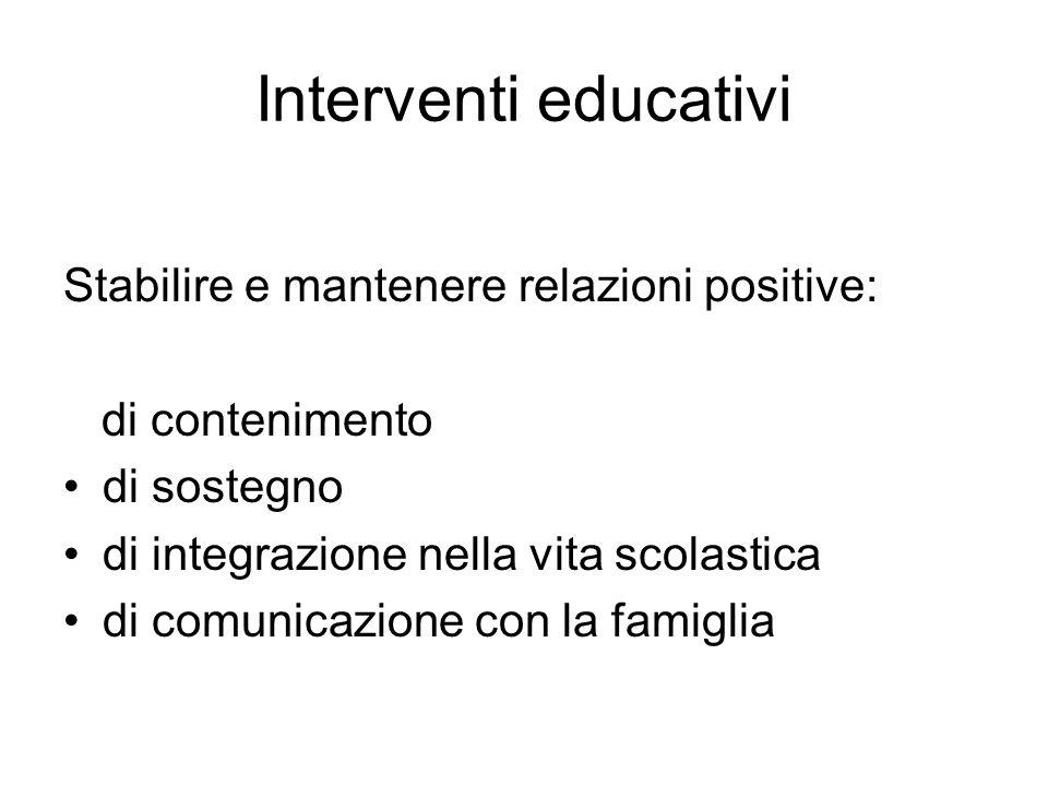 Interventi educativi Stabilire e mantenere relazioni positive: di contenimento di sostegno di integrazione nella vita scolastica di comunicazione con