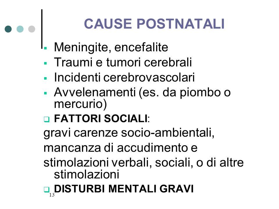 13 CAUSE POSTNATALI Meningite, encefalite Traumi e tumori cerebrali Incidenti cerebrovascolari Avvelenamenti (es. da piombo o mercurio) FATTORI SOCIAL