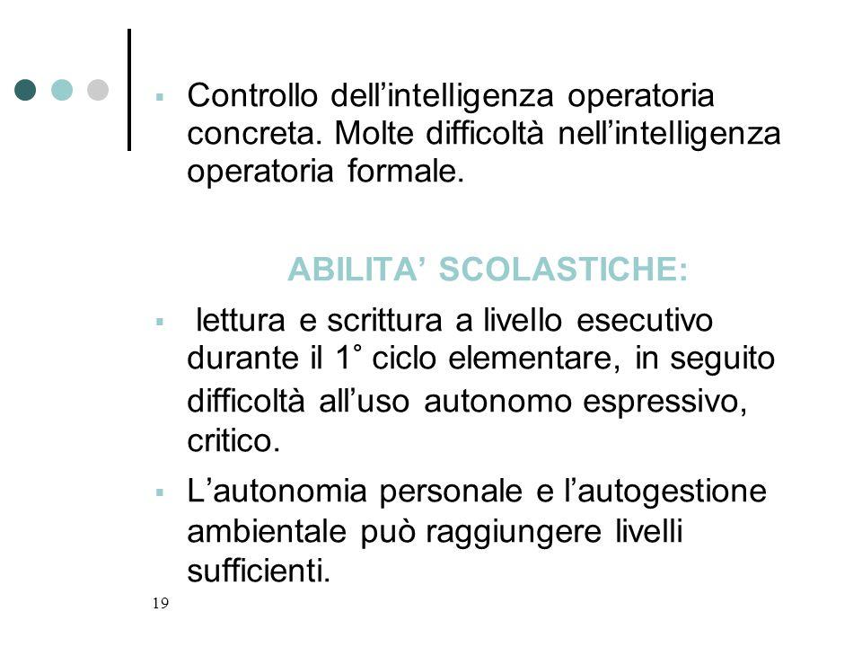 19 Controllo dellintelligenza operatoria concreta. Molte difficoltà nellintelligenza operatoria formale. ABILITA SCOLASTICHE: lettura e scrittura a li