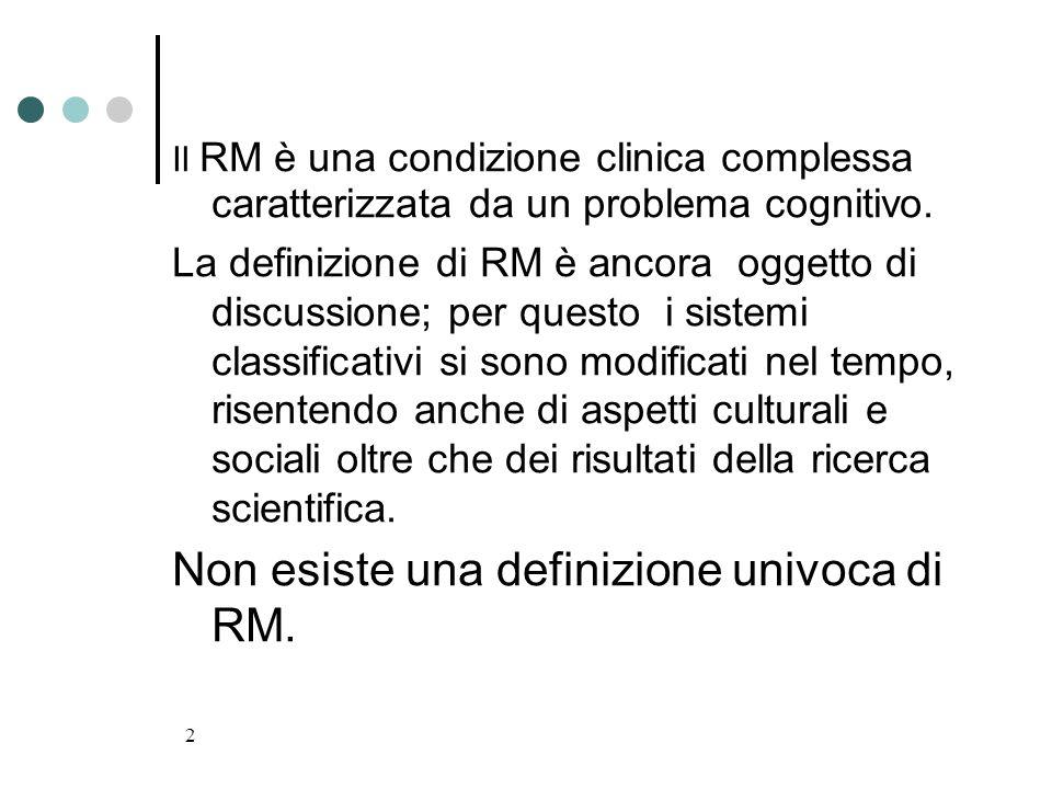 2 Il RM è una condizione clinica complessa caratterizzata da un problema cognitivo. La definizione di RM è ancora oggetto di discussione; per questo i