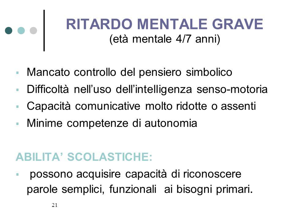 21 RITARDO MENTALE GRAVE (età mentale 4/7 anni) Mancato controllo del pensiero simbolico Difficoltà nelluso dellintelligenza senso-motoria Capacità co