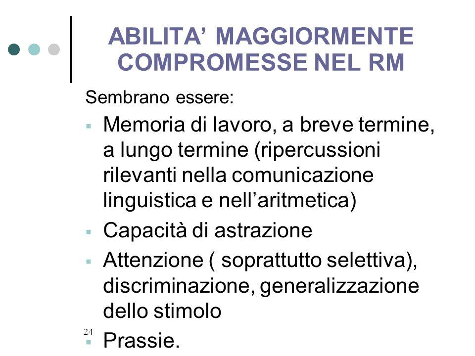 24 ABILITA MAGGIORMENTE COMPROMESSE NEL RM Sembrano essere: Memoria di lavoro, a breve termine, a lungo termine (ripercussioni rilevanti nella comunic
