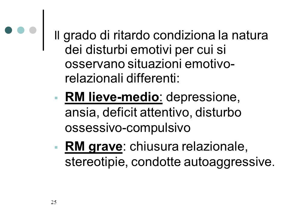25 Il grado di ritardo condiziona la natura dei disturbi emotivi per cui si osservano situazioni emotivo- relazionali differenti: RM lieve-medio: depr