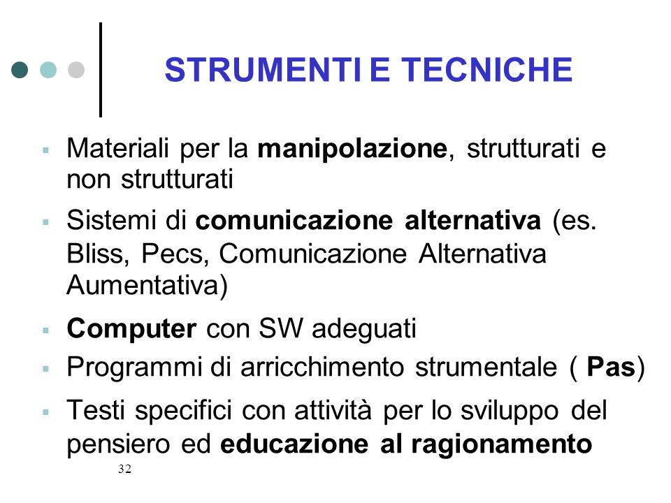 32 STRUMENTI E TECNICHE Materiali per la manipolazione, strutturati e non strutturati Sistemi di comunicazione alternativa (es. Bliss, Pecs, Comunicaz